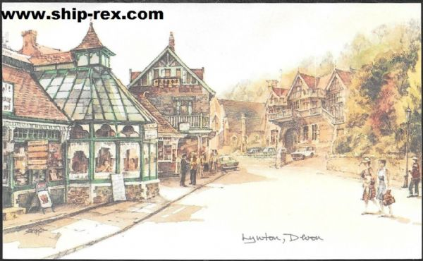 Lynton, from David Skipp water-colour, postcard
